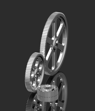 Three crome gears on black background, mechanism concept 3d render of a gear photo