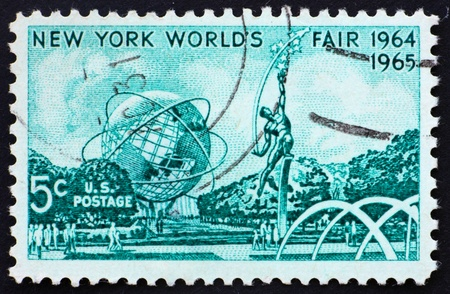 donald: UNITED STATES OF AMERICA - CIRCA 1964: a stamp printed in the United States of America shows Mall with Unisphere and rocket thrower, by Donald De Lue from New York World�s fair 1964, circa 1964