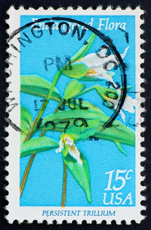 UNITED STATES OF AMERICA - CIRCA 1979: a stamp printed in the United States of America shows Persistent Trillium, Endangered Flora, circa 1979 photo
