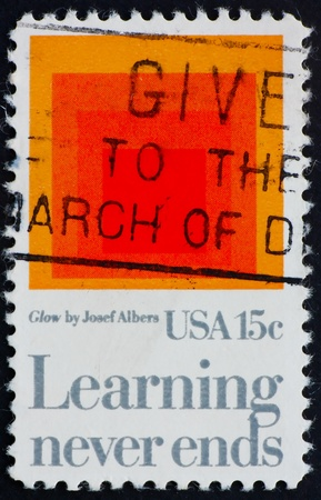 of homage: UNITED STATES OF AMERICA - CIRCA 1980: a stamp printed in the United States of America shows Homage to the Square: Glow, by Josef Albers, Learning Never Ends, circa 1980 Stock Photo