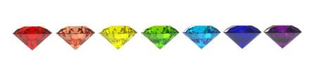 Seven diamonds in colors of rainbow 3d render isolated on white photo