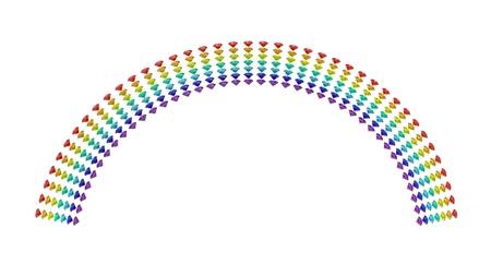 Rainbow of diamonds 3d render isolated on white photo