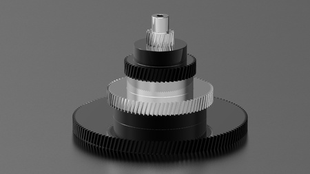 Tower of chrome and black chrome gears, 3d render of a gear on black photo