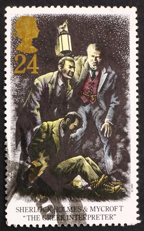 interpreter: GREAT BRITAIN – CIRCA 1993: a stamp printed in the Great Britain shows Sherlock Holmes and Mycroft, The Greek Interpreter, circa 1993