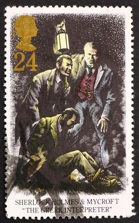 sherlock holmes: GREAT BRITAIN � CIRCA 1993: a stamp printed in the Great Britain shows Sherlock Holmes and Mycroft, The Greek Interpreter, circa 1993