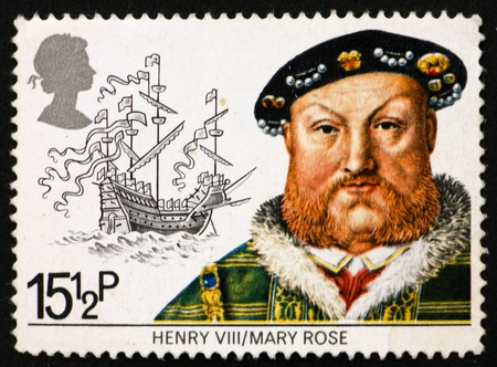 viii: GREAT BRITAIN – CIRCA 1982: a stamp printed in the Great Britain shows King Henry VIII and the Mary Rose Ship, circa 1982