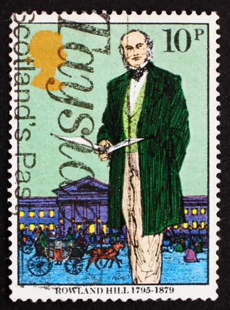 originator: GREAT BRITAIN - CIRCA 1979: a stamp printed in the Great Britain shows Sir Rowland Hill, originator of penny postage, reformer of the postal system, circa 1979 Stock Photo