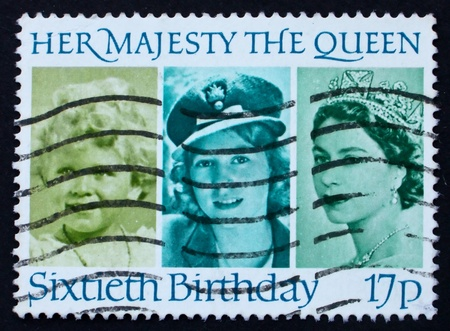 perforated stamp: GREAT BRITAIN - CIRCA 1986: a stamp printed in the Great Britain shows Her Majesty the Queen Elizabeth II, sixtieth birthday, circa 1986