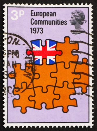 eec: GREAT BRITAIN - CIRCA 1973: a stamp printed in the Great Britain shows Britain as Part of European Community, Britain�s entry into the European Community, circa 1973 Stock Photo