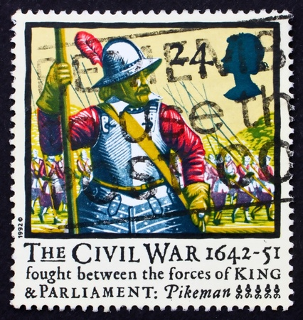 GREAT BRITAIN - CIRCA 1992: a stamp printed in the Great Britain shows Pikeman, 350th anniversary of English civil war, circa 1992 photo