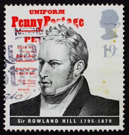 originator: GREAT BRITAIN - CIRCA 1995: a stamp printed in the Great Britain shows Sir Rowland Hill, introduction of uniform penny postage, reformer of the postal system, circa 1995