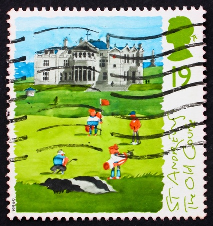 GREAT BRITAIN - CIRCA 1994: a stamp printed in the Great Britain shows St. Andrews, old course, 250th anniversary of Honorable Company of Edinburgh Golfers, circa 1994 Stock Photo - 11030066