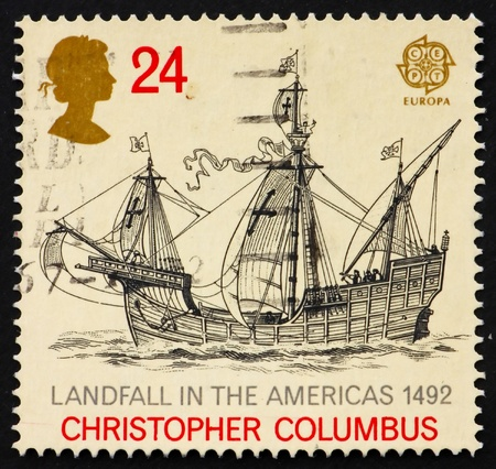 postal office: GREAT BRITAIN - CIRCA 1992: a stamp printed in the Great Britain shows Sailing ship, 500th anniversary of discovery of America, circa 1992