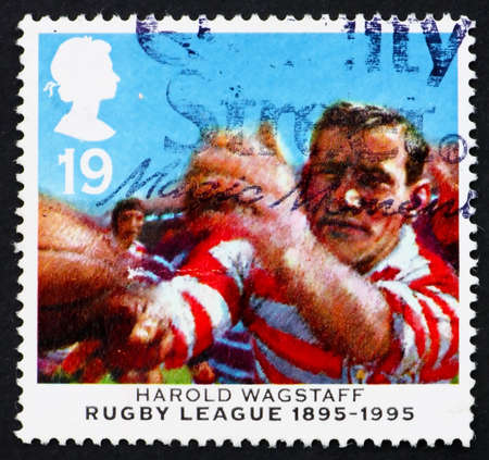 GREAT BRITAIN - CIRCA 1995: a stamp printed in the Great Britain shows Harold Wagstaff, Centenary of Rugby League, circa 1995 photo