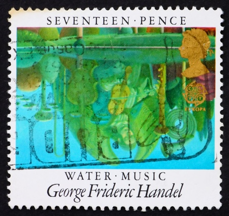 GREAT BRITAIN - CIRCA 1985: a stamp printed in the Great Britain shows Reflections in Pool, Water Music by George Frideric Handel, circa 1985 photo