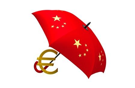 renminbi: Euro symbol under the Chinese umbrella Stock Photo