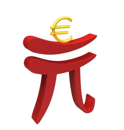 renminbi: Renminbi carries euro isolated on white, crisis in the Eurozone