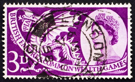 commonwealth: GREAT BRITAIN - CIRCA 1958: a stamp printed in the Great Britain shows Welsh Dragon, 6th British Empire and Commonwealth Games, Cardiff, circa 1958