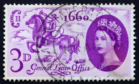 establishing: GREAT BRITAIN - CIRCA 1960: a stamp printed in the Great Britain shows Postboy on Horseback, Tercentenary of the act establishing the General Letter Office, circa 1960