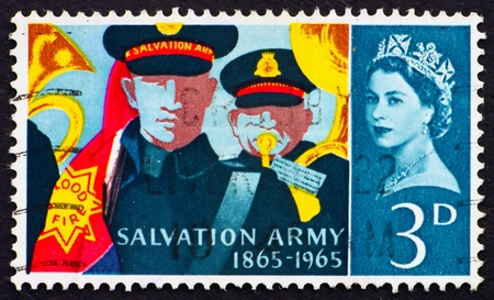 GREAT BRITAIN - CIRCA 1965: a stamp printed in the Great Britain shows Salvation Army Band and 'Blood and Fire' Flag, Centenary of the Salvation Army, circa 1965 photo