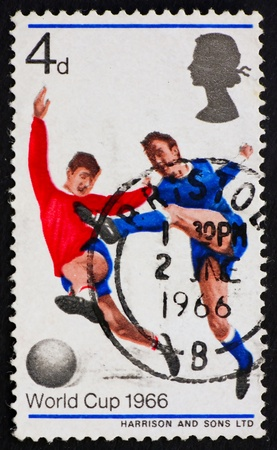 GREAT BRITAIN - CIRCA 1966: a stamp printed in the Great Britain shows Soccer Players, World Cup 1966, circa 1966 photo