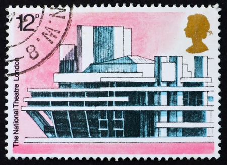 GREAT BRITAIN - CIRCA 1975: a stamp printed in the Great Britain shows National Theater, London, European Architectural Heritage, circa 1975 Stock Photo - 11133064