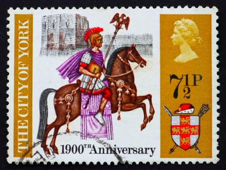 founding: GREAT BRITAIN - CIRCA 1971: a stamp printed in the Great Britain shows Roman centurion on horseback, York Castle and coat of arms, 1900th anniversary of the founding of York, circa 1971 Stock Photo