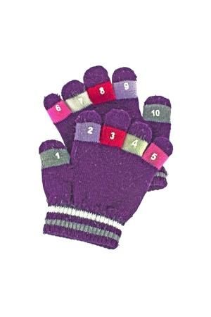 Woolen children gloves isolated on white background photo