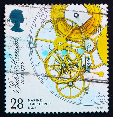 escapement: GREAT BRITAIN - CIRCA 1993: a stamp printed in the Great Britain shows Marine Chronometer by John Harrison, escapement, remontoire and fusee, inventor, circa 1993
