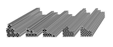 extruded: Pila di profili estrusi in alluminio isolato su bianco 3D render
