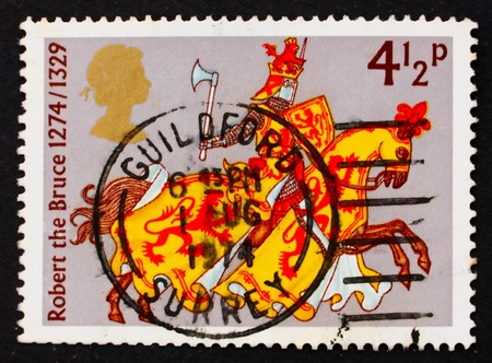 robert bruce: GREAT BRITAIN - CIRCA 1974: a stamp printed in the Great Britain shows Robert the Bruce, Great Britons, circa 1974
