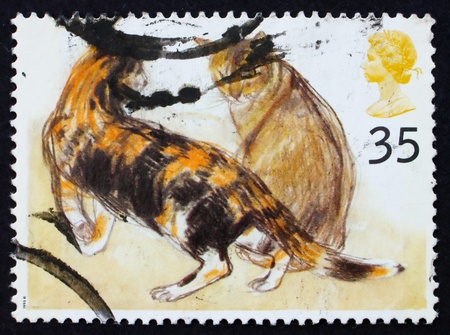 GREAT BRITAIN - CIRCA 1995: a stamp printed in the Great Britain shows Calico, Abyssinian cats, circa 1995 photo