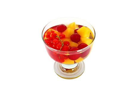 Tasty fruit compote isolated on white background photo