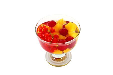 Tasty fruit compote isolated on white background photo