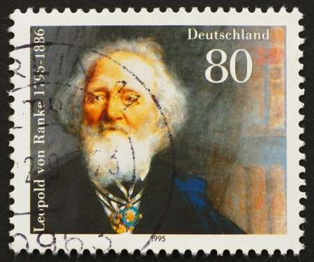 leopold: GERMANY - CIRCA 1995: a stamp printed in the Germany shows Leopold von Ranke, Historian, circa 1995 Stock Photo
