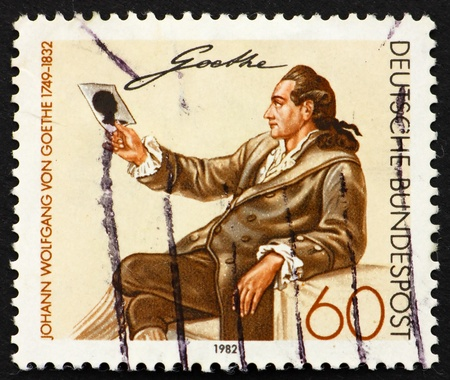 GERMANY - CIRCA 1982: a stamp printed in the Germany shows Johann Wolfgang von Goethe, Writer and Natural Philosopher, circa 1982