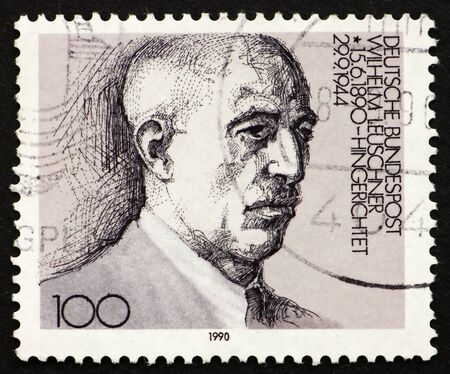 reich: GERMANY - CIRCA 1976: a stamp printed in the Germany shows Wilhelm Leuschner, Politician who opposed the Third Reich and executed 1944, circa 1976 Stock Photo