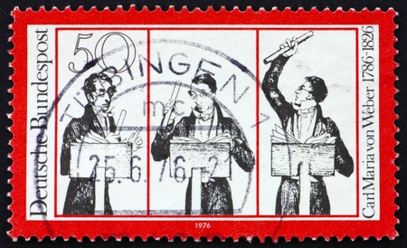 weber: GERMANY - CIRCA 1976: a stamp printed in the Germany shows Carl Maria von Weber, composer, circa 1976
