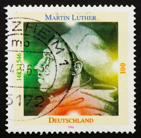 GERMANY - CIRCA 1996: a stamp printed in the Germany shows Martin Luther German Priest, who initiated the Protestant reformation, circa 1996 Stock Photo - 11278268