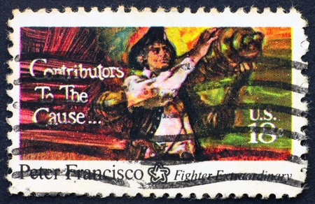 UNITED STATES OF AMERICA - CIRCA 1975: a stamp printed in the United States of America shows Peter Francisco, Portuguese-French immigrant joined Continental Army at 15, Bicentennial of America, circa 1975 Stock Photo - 11278309