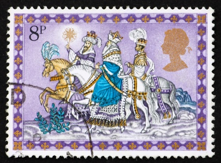 GREAT BRITAIN - CIRCA 1979: a stamp printed in the Great Britain shows Three Kings Following Star, Christmas, circa 1979 photo