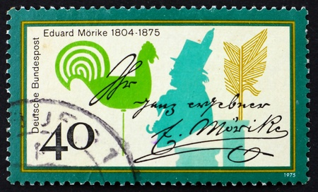 GERMANY - CIRCA 1975: a stamp printed in the Germany shows Eduard Morike, Poet, circa 1975 Stock Photo - 11278276