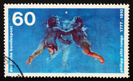 GERMANY - CIRCA 1977: a stamp printed in the Germany shows Morning, painting by Philipp Otto Runge, circa 1977 Stock Photo - 11278312