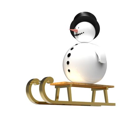 Snowman on golden sledge Christmas decoration isolated on white 3d render photo