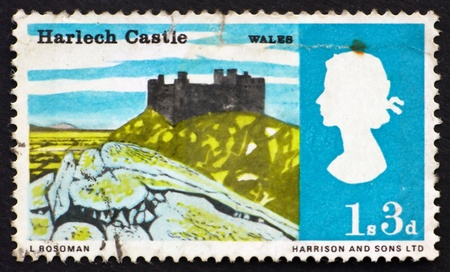 GREAT BRITAIN - CIRCA 1966: a stamp printed in the Great Britain shows Harlech Castle, Wales, circa 1966 Stock Photo - 11278318