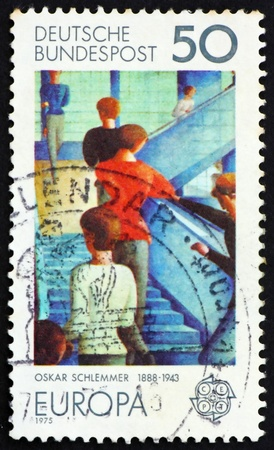 GERMANY - CIRCA 1975: a stamp printed in the Germany shows Bauhaus Staircase, painting by Oskar Schlemmer, circa 1975 Stock Photo - 11278319