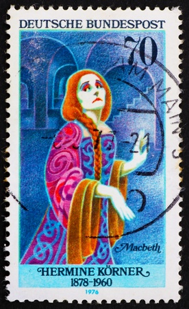 macbeth: GERMANY - CIRCA 1976: a stamp printed in the Germany shows Hermine Korner as Lady Macbeth, German Actress, circa 1976