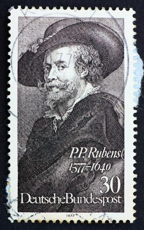 GERMANY - CIRCA 1977: a stamp printed in the Germany shows Peter Paul Rubens, Flemish painter, Self-portrait, circa 1977 Stock Photo - 11278327