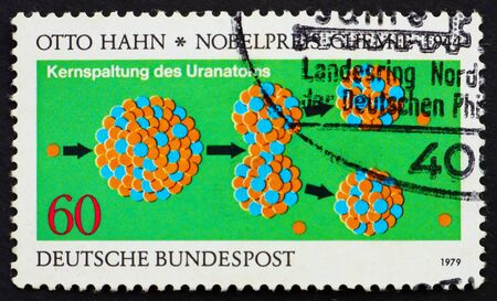 GERMANY - CIRCA 1979: a stamp printed in the Germany shows Otto Hahn's Diagram of the Splitting of the Uranium Nucleus, Nobel Prize Winner for Chemistry 1944, circa 1979 Stock Photo - 11278322