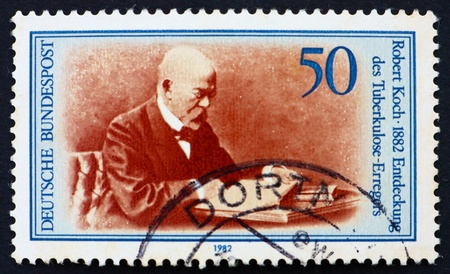 robert: GERMANY - CIRCA 1982: a stamp printed in the Germany shows Robert Koch, Discoverer of Tubercle Bacillus, circa 1982